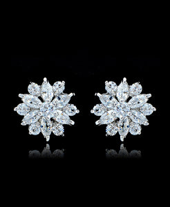 Clear Cubic Zirconia Flower Stud Earrings - Bedazzled By Jeanelle - 1