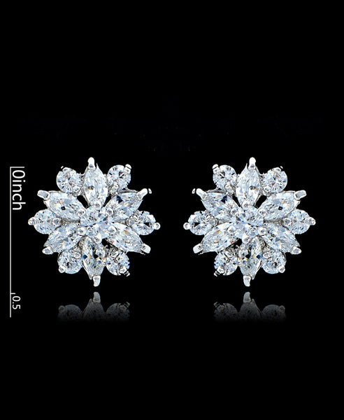 Clear Cubic Zirconia Flower Stud Earrings - Bedazzled By Jeanelle - 2