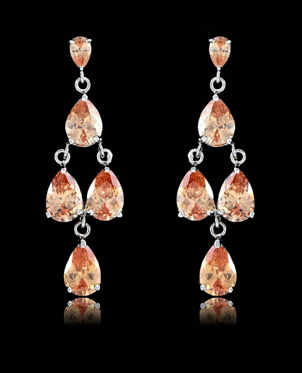 Light Peach Cubic Zirconia Chandelier Earrings - Bedazzled By Jeanelle - 1