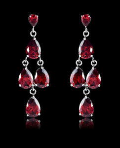 Garnet Cubic Zirconia Chandelier Earrings - Bedazzled By Jeanelle - 1