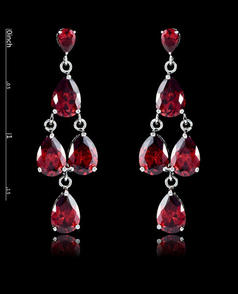 Garnet Cubic Zirconia Chandelier Earrings - Bedazzled By Jeanelle - 2