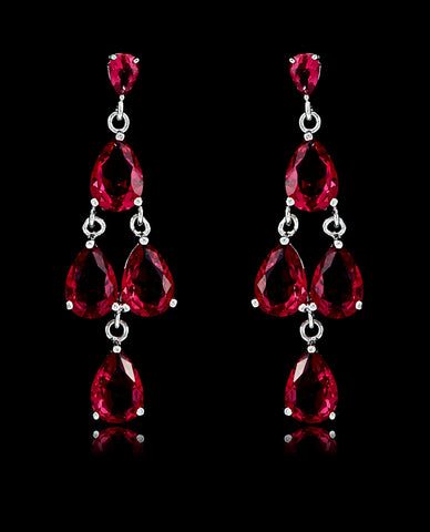 Fuchsia Cubic Zirconia Chandelier Earrings - Bedazzled By Jeanelle - 1