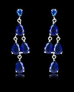 Sapphire Cubic Zirconia Chandelier Earrings - Bedazzled By Jeanelle - 1