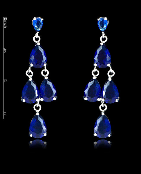 Sapphire Cubic Zirconia Chandelier Earrings - Bedazzled By Jeanelle - 2