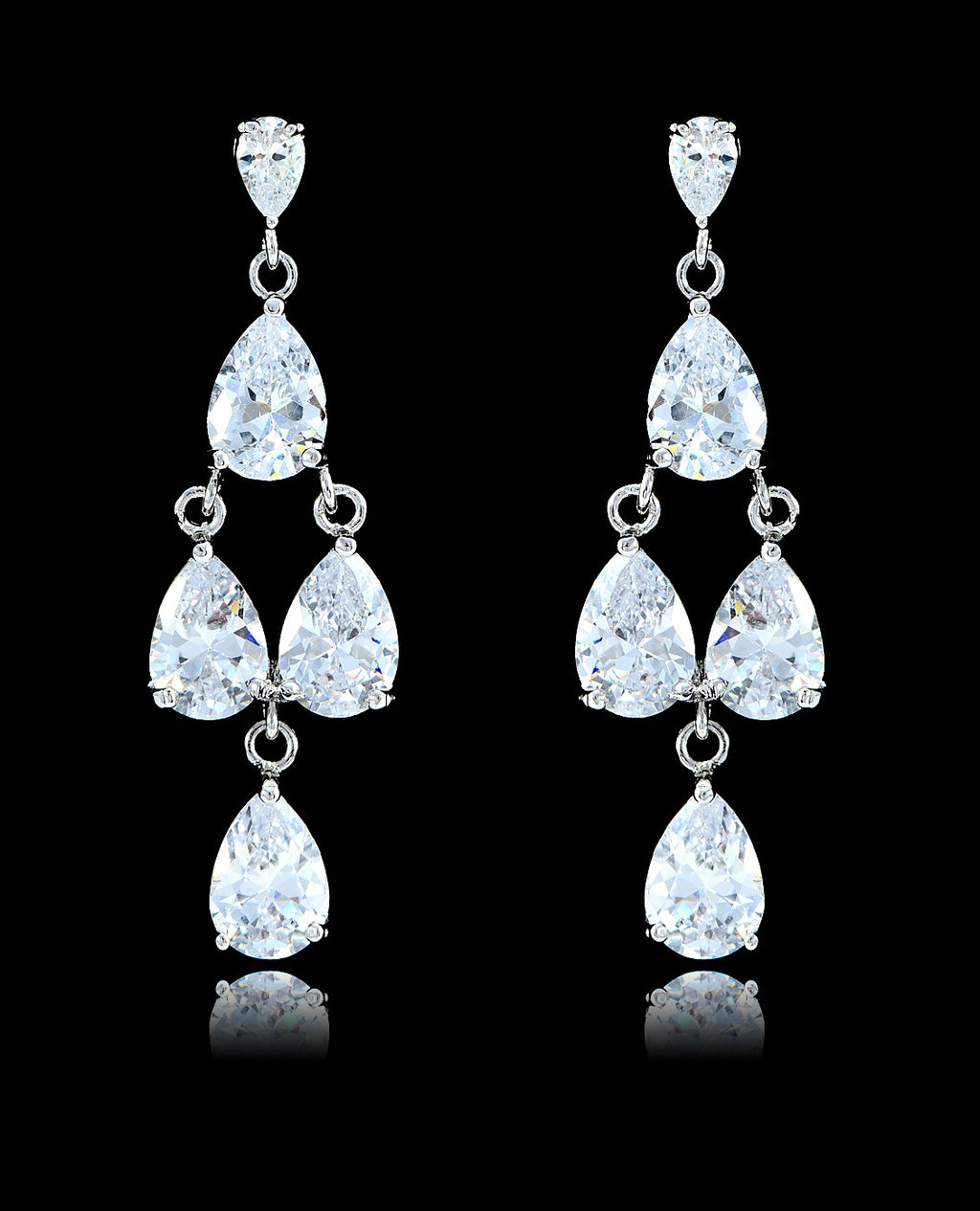 Crystal Cubic Zirconia Chandelier Earrings - Bedazzled By Jeanelle - 1