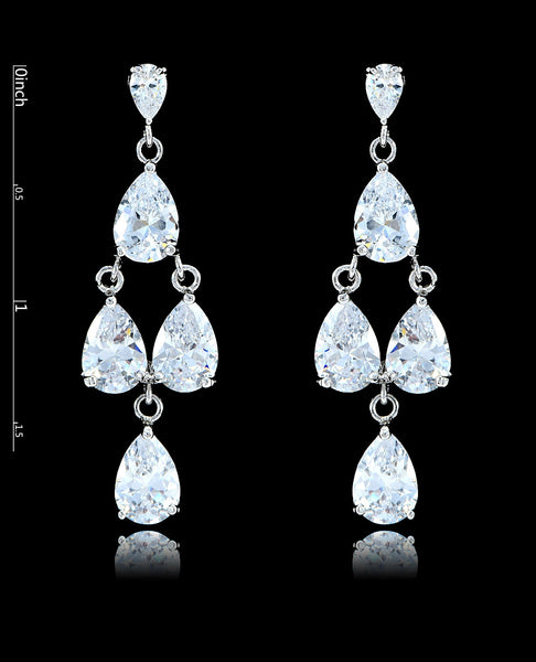 Crystal Cubic Zirconia Chandelier Earrings - Bedazzled By Jeanelle - 2
