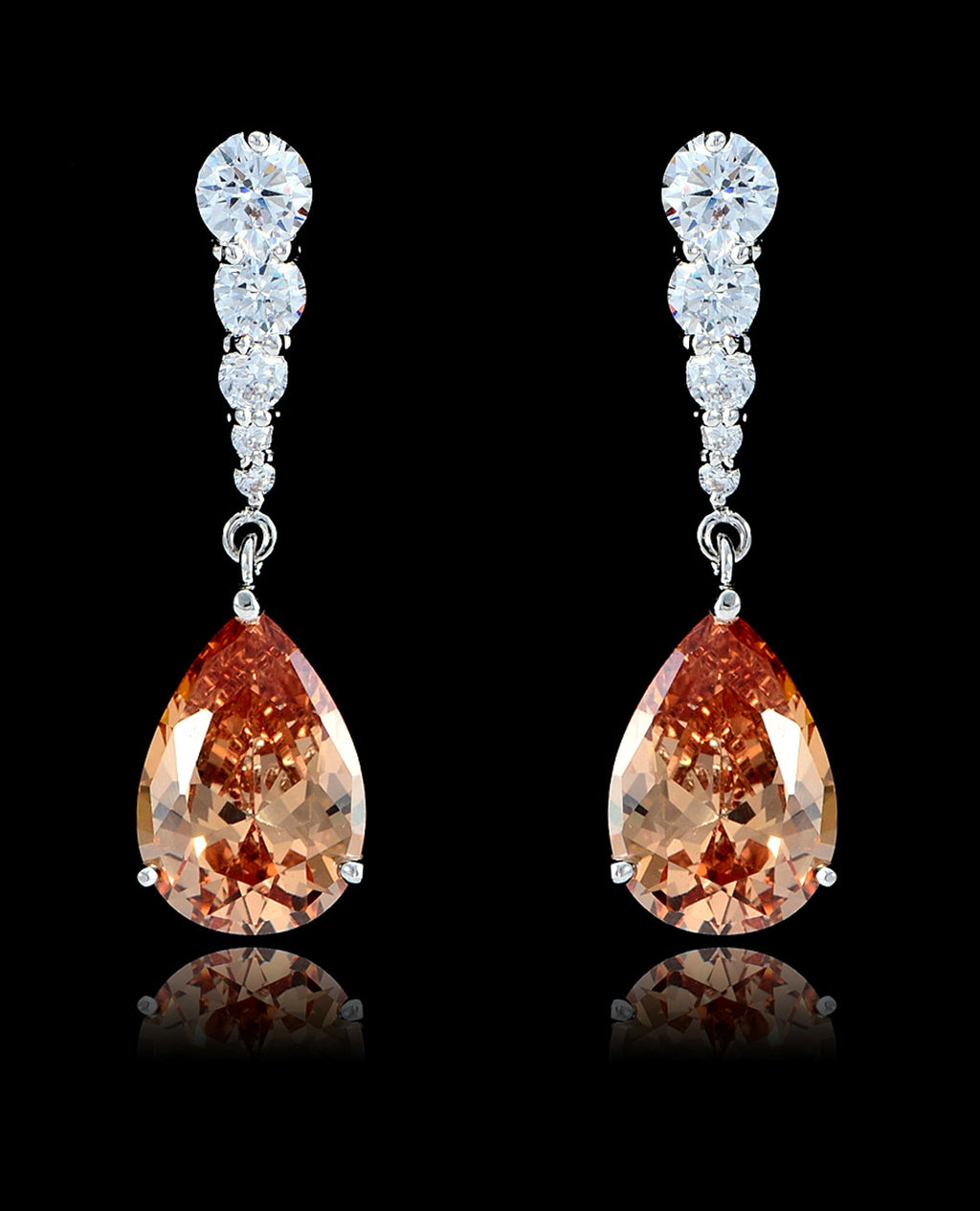 Light Peach Cubic Zirconia Teardrop Earrings - Bedazzled By Jeanelle - 1
