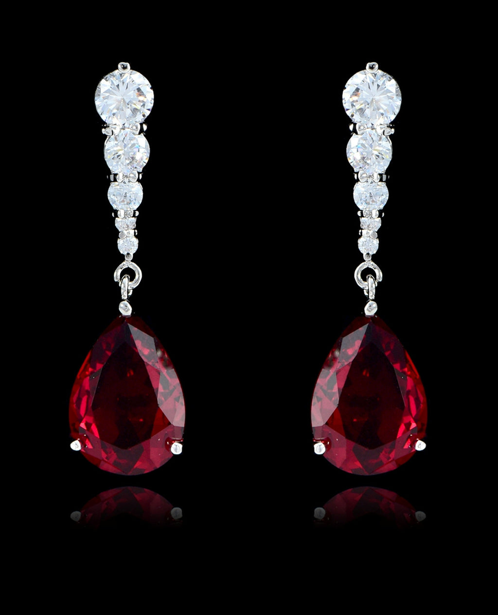 Garnet Cubic Zirconia Teardrop Earrings - Bedazzled By Jeanelle - 1