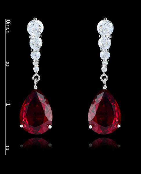 Garnet Cubic Zirconia Teardrop Earrings - Bedazzled By Jeanelle - 2