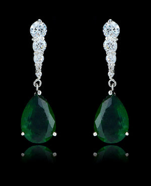 Emerald Green Cubic Zirconia Teardrop Earrings - Bedazzled By Jeanelle - 1