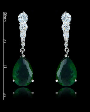 Emerald Green Cubic Zirconia Teardrop Earrings - Bedazzled By Jeanelle - 2