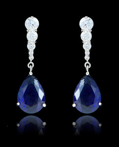 Sapphire Cubic Zirconia Teardrop Earrings - Bedazzled By Jeanelle - 1