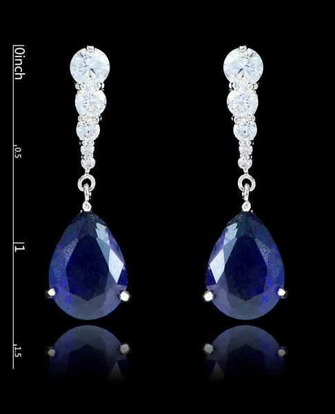 Sapphire Cubic Zirconia Teardrop Earrings - Bedazzled By Jeanelle - 2