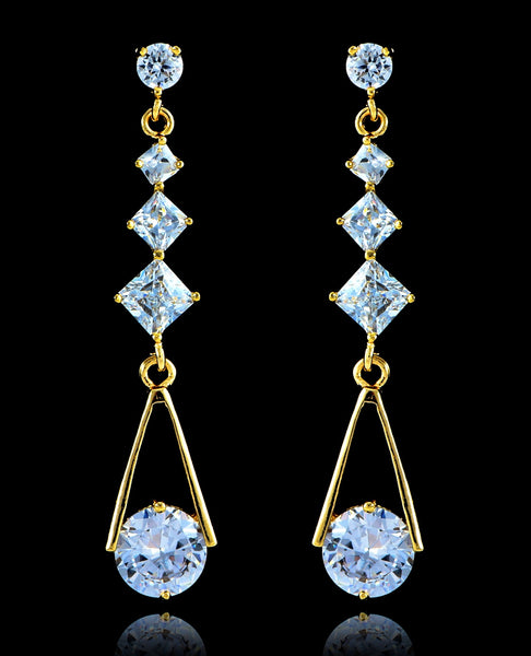 Crystal Gold Cubic Zirconia Drop and Dangle Earrings - Bedazzled By Jeanelle - 1