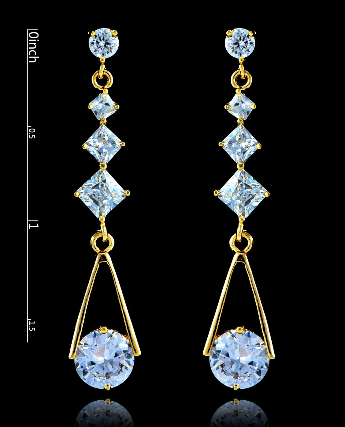 Crystal Gold Cubic Zirconia Drop and Dangle Earrings - Bedazzled By Jeanelle - 2