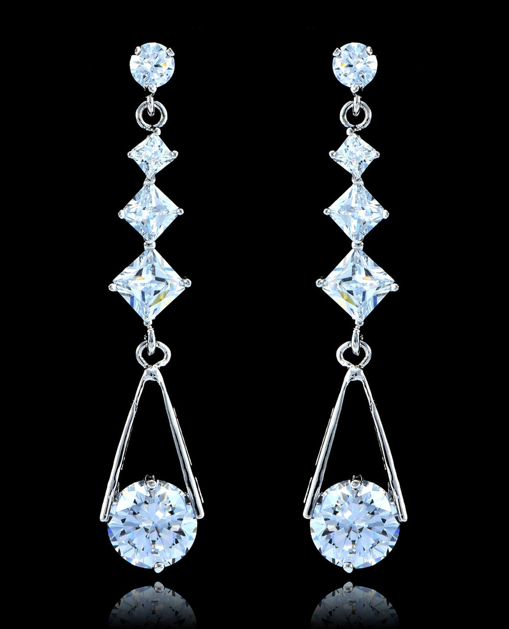 Crystal Silver Cubic Zirconia Drop and Dangle Earrings - Bedazzled By Jeanelle - 1