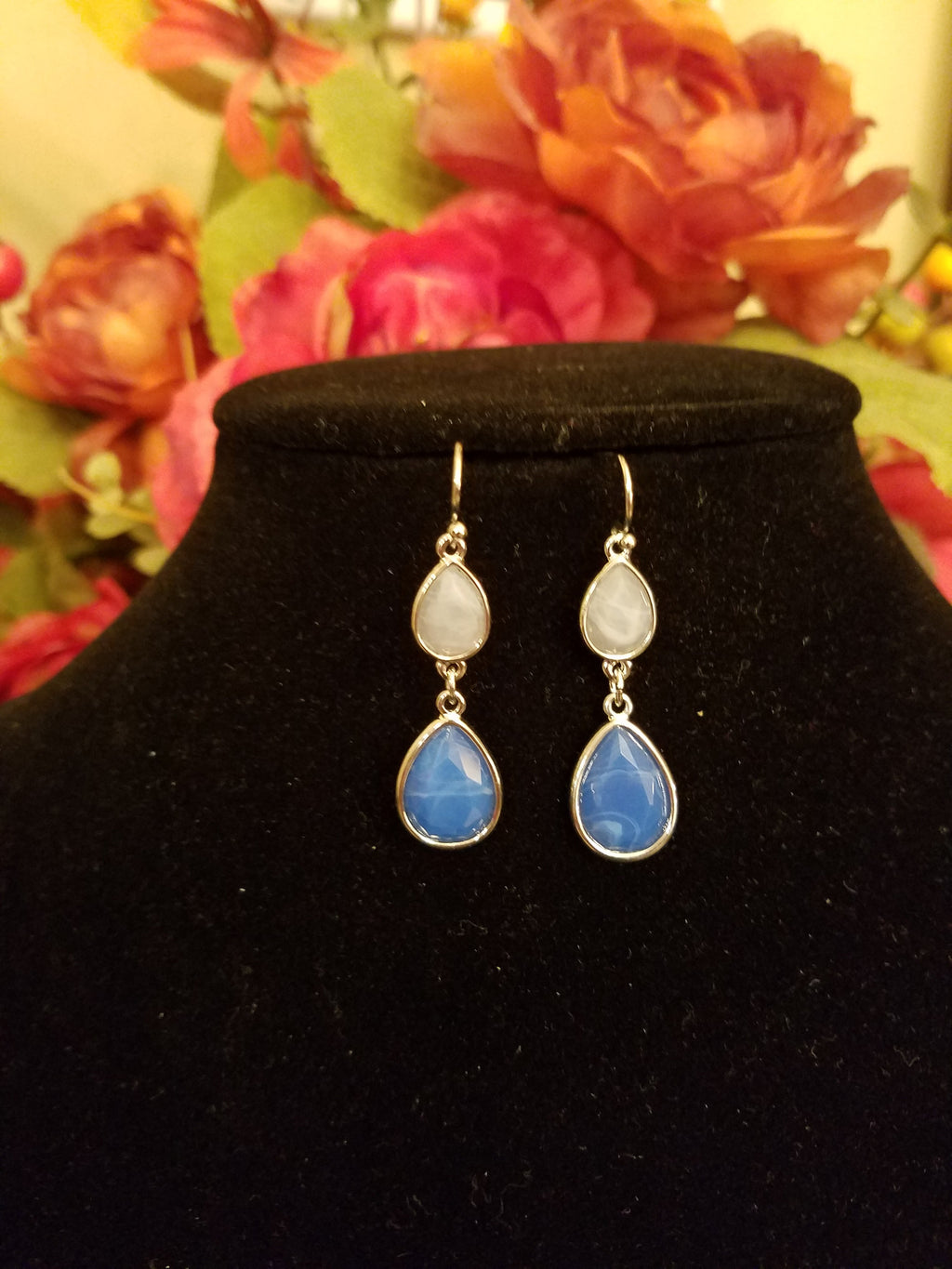 Light Sapphire Blue-Sky Gray Teardrop Dangle Fashion Earrings - Bedazzled By Jeanelle