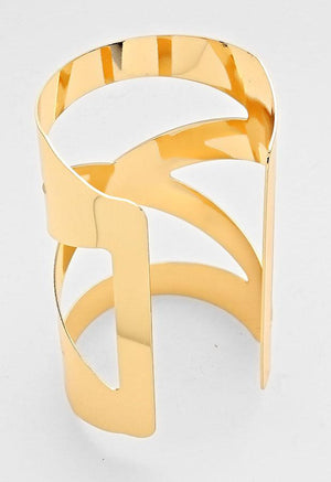 Gold Geometric Cage Cuff Bracelet - Bedazzled By Jeanelle - 2