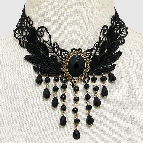 Black Beaded Fringe Victorian Lace Choker - Bedazzled By Jeanelle