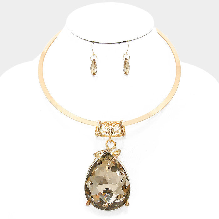 Oversized Sandy Brown Crystal Rhinestone Teardrop Pendant Choker Necklace Set - Bedazzled By Jeanelle