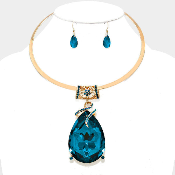 Oversized Teal Crystal Teardrop Pendant Choker Necklace Set