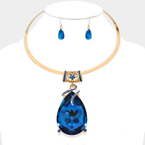 Oversized Blue Crystal Teardrop Pendant Choker Necklace Set