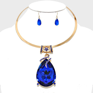 Sapphire Crystal Teardrop Pendant Choker Necklace Set - Bedazzled By Jeanelle