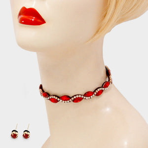 Ruby Red Crystal Rhinestone Wavy Choker Necklace Set - Bedazzled By Jeanelle - 1