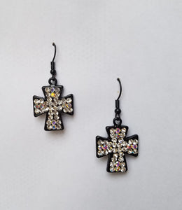 Crystal Cross Drop Earrings - Bedazzled By Jeanelle