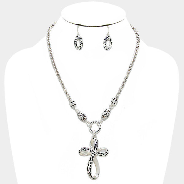 Filigree Cross Necklace Set