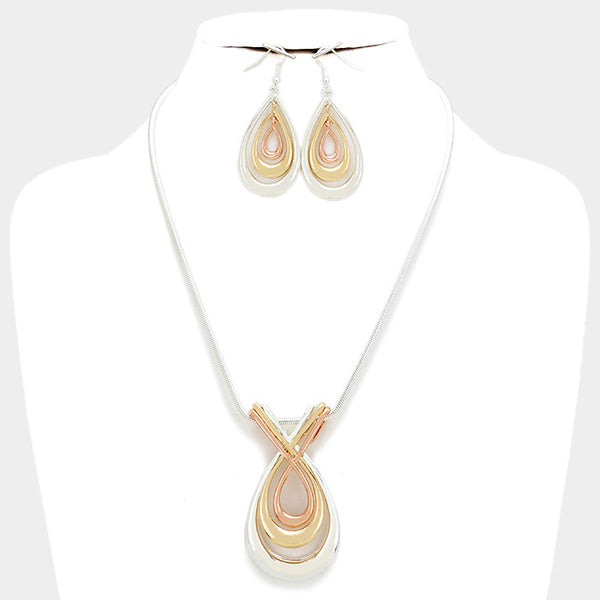 Silver-Gold Twisted Metal Teardrop Pendant Necklace Set