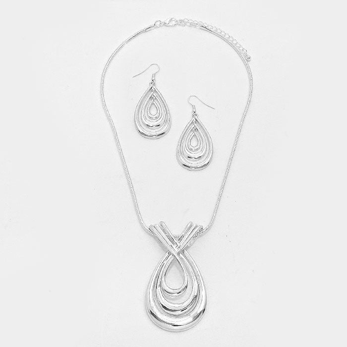 Silver Twisted Metal Teardrop Pendant Necklace Set - Bedazzled By Jeanelle - 2