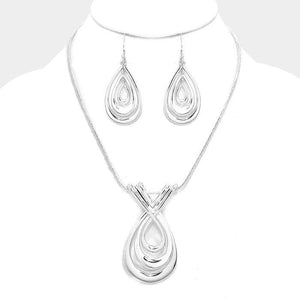 Silver Twisted Metal Teardrop Pendant Necklace Set - Bedazzled By Jeanelle - 1