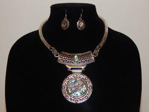 New Silver Circular Abalone Filigree Necklace Set