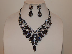 New Black Morion Evening Statement Necklace Set