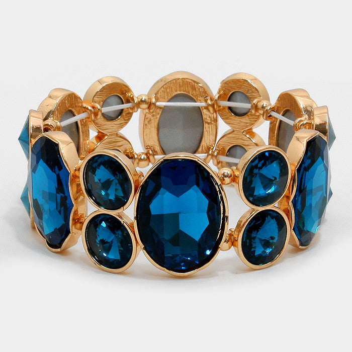 Chunky Capri Blue Glass Crystal Stretchable Statement Bracelet - Bedazzled By Jeanelle