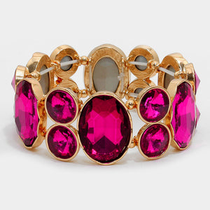 Chunky Fuchsia Crystal Stretchable Statement Bracelet - Bedazzled By Jeanelle
