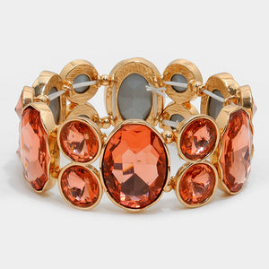Chunky Peach Crystal Stretchable Statement Bracelet - Bedazzled By Jeanelle