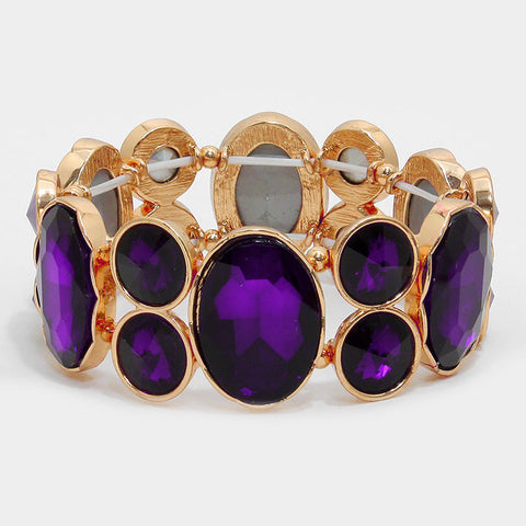 Chunky Dark Amethyst Crystal Stretchable Statement Bracelet - Bedazzled By Jeanelle