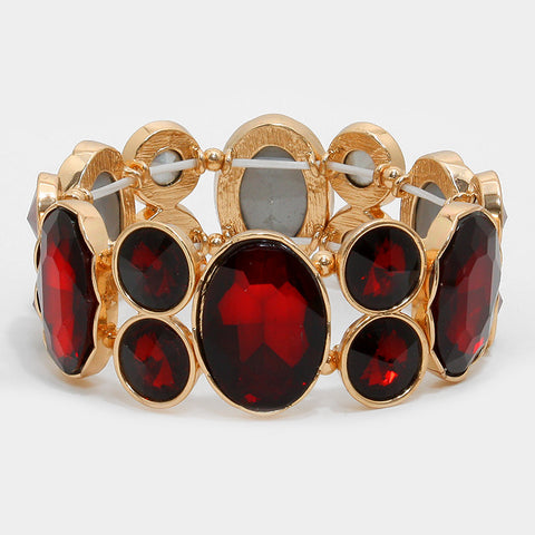 Chunky Ruby Red Crystal Stretchable Statement Bracelet - Bedazzled By Jeanelle