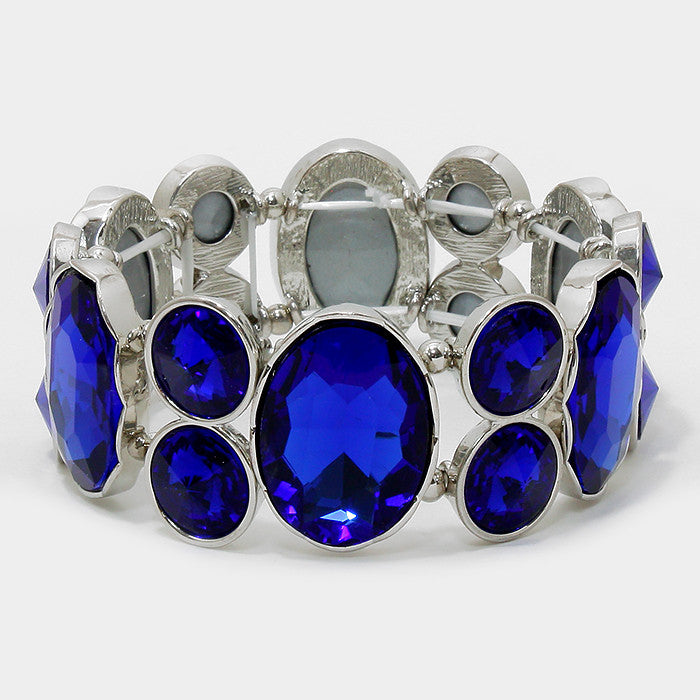 Chunky Dark Sapphire Crystal Stretchable Statement Bracelet - Bedazzled By Jeanelle