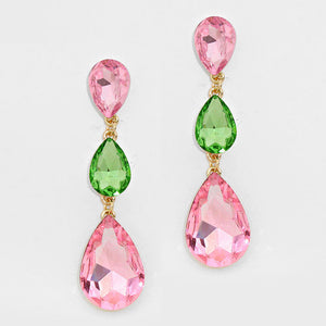 Formal Rose-Peridot Crystal Triple-Teardrop Dangle Earrings - Bedazzled By Jeanelle