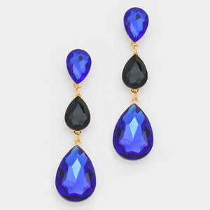 Formal Sapphire-Black Crystal Triple-Teardrop Dangle Earrings - Bedazzled By Jeanelle