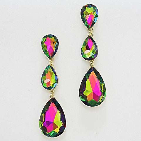 Formal Green Vitrail Glass Triple-Teardrop Dangle Earrings - Bedazzled By Jeanelle