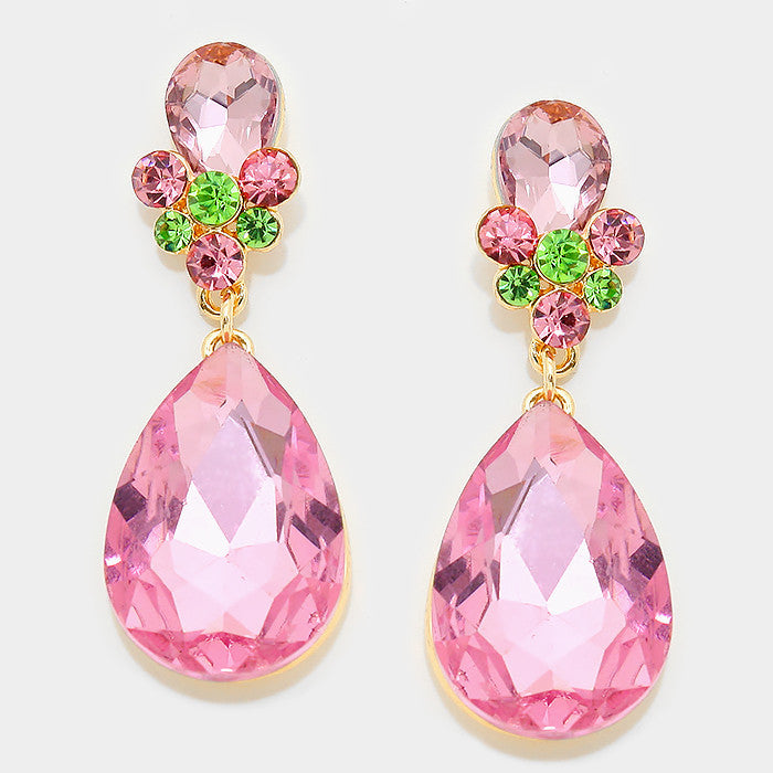 Formal Rose-Lime Green Crystal Double-Teardrop Dangle Earrings - Bedazzled By Jeanelle