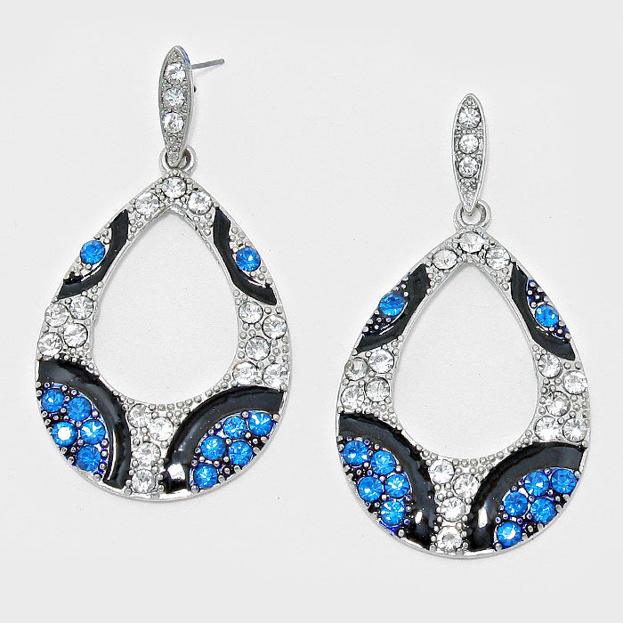 Blue and Silver Teardrop Fashion Earrings