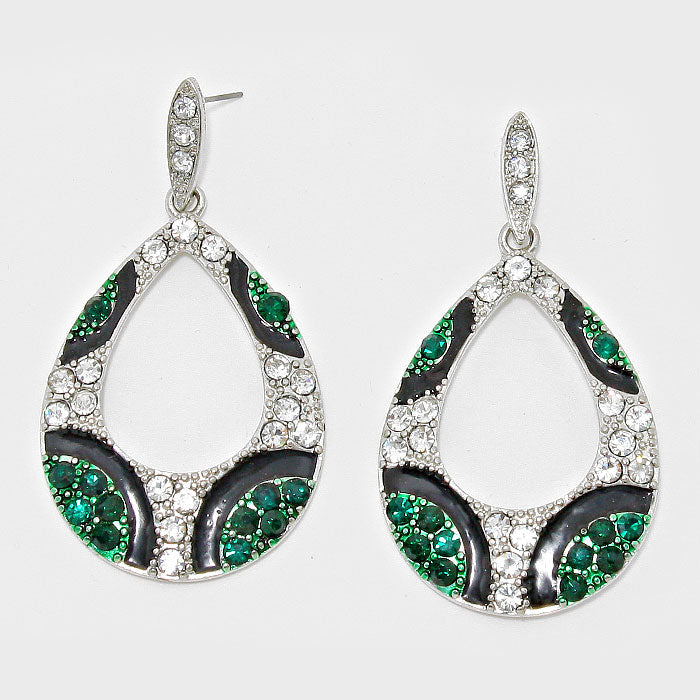 Green and Silver Teardrop Fashion Earrings