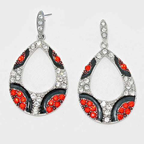 Red and Silver Teardrop Fashion Earrings