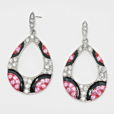 Pink and Silver Teardrop Fashion Earrings