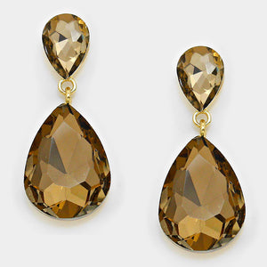Formal Sandy Brown Crystal Double-Teardrop Dangle Earrings - Bedazzled By Jeanelle
